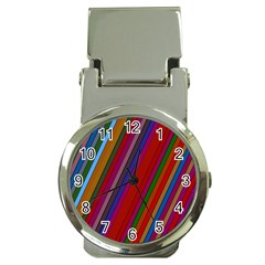 Color Stripes Pattern Money Clip Watches by Simbadda