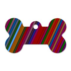 Color Stripes Pattern Dog Tag Bone (one Side) by Simbadda