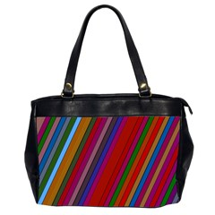 Color Stripes Pattern Office Handbags (2 Sides)  by Simbadda