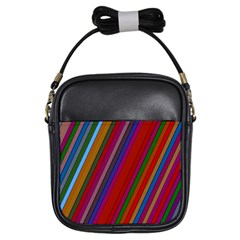 Color Stripes Pattern Girls Sling Bags by Simbadda