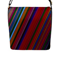 Color Stripes Pattern Flap Messenger Bag (l)  by Simbadda