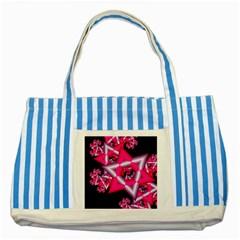 Star Of David On Black Striped Blue Tote Bag by Simbadda