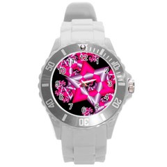 Star Of David On Black Round Plastic Sport Watch (l) by Simbadda