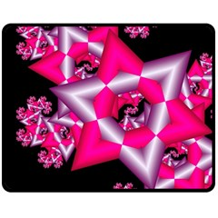 Star Of David On Black Double Sided Fleece Blanket (medium)  by Simbadda