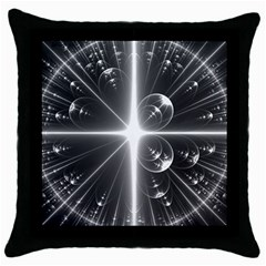 Black And White Bubbles On Black Throw Pillow Case (black) by Simbadda