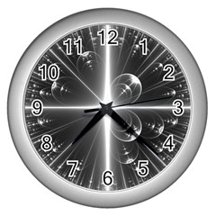 Black And White Bubbles On Black Wall Clocks (silver)  by Simbadda