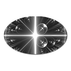 Black And White Bubbles On Black Oval Magnet by Simbadda