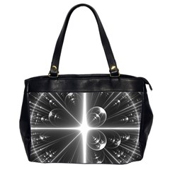 Black And White Bubbles On Black Office Handbags (2 Sides)  by Simbadda