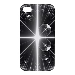 Black And White Bubbles On Black Apple Iphone 4/4s Hardshell Case by Simbadda