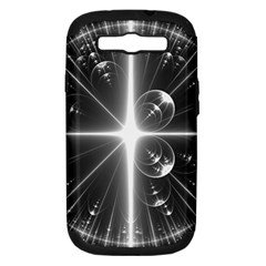Black And White Bubbles On Black Samsung Galaxy S Iii Hardshell Case (pc+silicone) by Simbadda