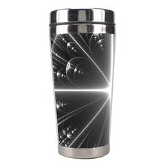 Black And White Bubbles On Black Stainless Steel Travel Tumblers by Simbadda