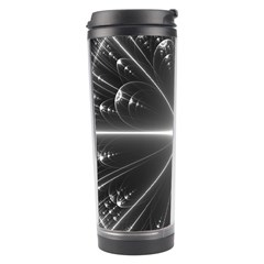 Black And White Bubbles On Black Travel Tumbler by Simbadda
