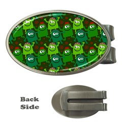 Seamless Little Cartoon Men Tiling Pattern Money Clips (oval)  by Simbadda