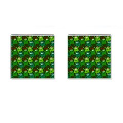 Seamless Little Cartoon Men Tiling Pattern Cufflinks (square) by Simbadda