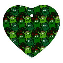 Seamless Little Cartoon Men Tiling Pattern Heart Ornament (two Sides)