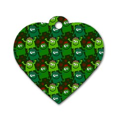Seamless Little Cartoon Men Tiling Pattern Dog Tag Heart (one Side) by Simbadda