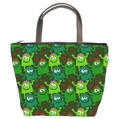 Seamless Little Cartoon Men Tiling Pattern Bucket Bags by Simbadda