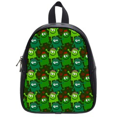 Seamless Little Cartoon Men Tiling Pattern School Bags (small)  by Simbadda
