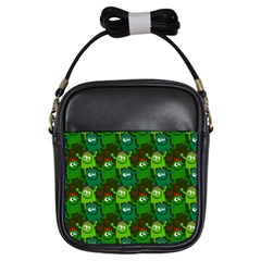 Seamless Little Cartoon Men Tiling Pattern Girls Sling Bags by Simbadda