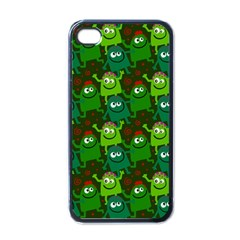 Seamless Little Cartoon Men Tiling Pattern Apple Iphone 4 Case (black) by Simbadda