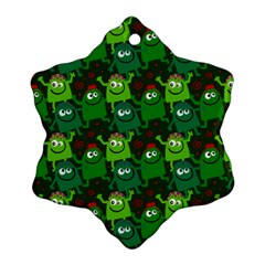 Seamless Little Cartoon Men Tiling Pattern Snowflake Ornament (two Sides) by Simbadda