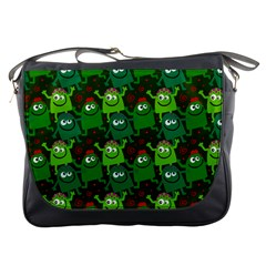 Seamless Little Cartoon Men Tiling Pattern Messenger Bags by Simbadda