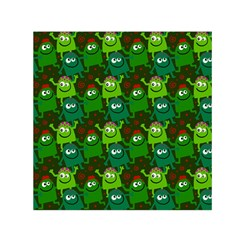 Seamless Little Cartoon Men Tiling Pattern Small Satin Scarf (square) by Simbadda