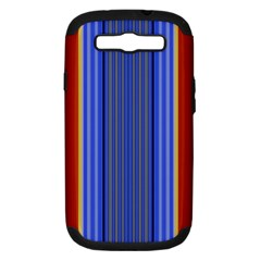 Colorful Stripes Background Samsung Galaxy S Iii Hardshell Case (pc+silicone) by Simbadda