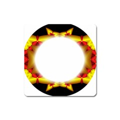 Circle Fractal Frame Square Magnet by Simbadda