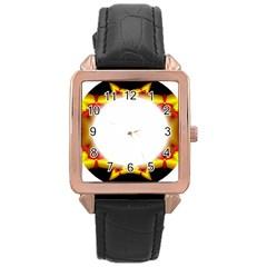 Circle Fractal Frame Rose Gold Leather Watch  by Simbadda