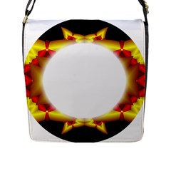 Circle Fractal Frame Flap Messenger Bag (l)  by Simbadda