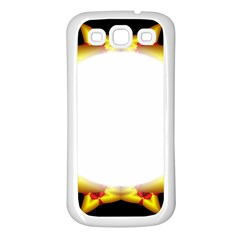 Circle Fractal Frame Samsung Galaxy S3 Back Case (white) by Simbadda