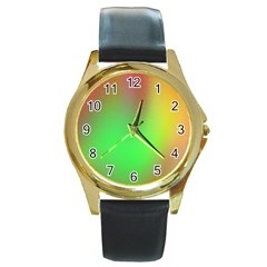 November Blurry Brilliant Colors Round Gold Metal Watch by Simbadda