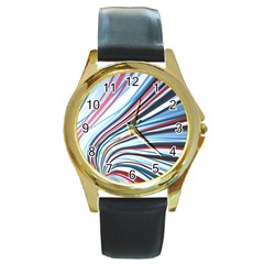 Wavy Stripes Background Round Gold Metal Watch by Simbadda