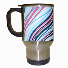 Wavy Stripes Background Travel Mugs (white) by Simbadda