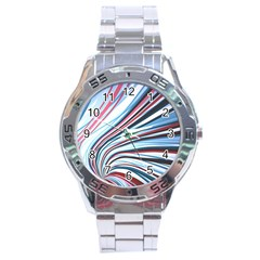 Wavy Stripes Background Stainless Steel Analogue Watch by Simbadda