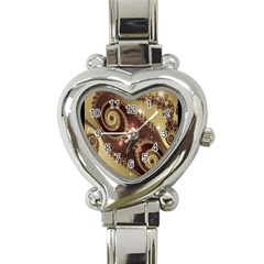 Space Fractal Abstraction Digital Computer Graphic Heart Italian Charm Watch by Simbadda