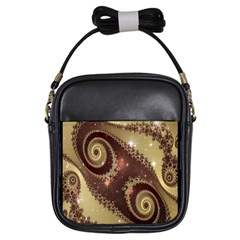 Space Fractal Abstraction Digital Computer Graphic Girls Sling Bags by Simbadda