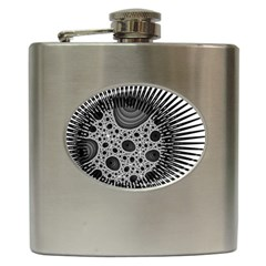 Fractal Background Black Manga Rays Hip Flask (6 Oz) by Simbadda