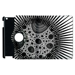 Fractal Background Black Manga Rays Apple Ipad 2 Flip 360 Case by Simbadda