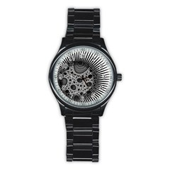 Fractal Background Black Manga Rays Stainless Steel Round Watch