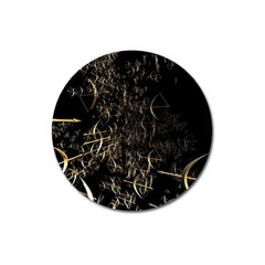 Golden Bows And Arrows On Black Magnet 3  (round) by Simbadda