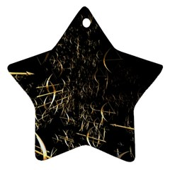 Golden Bows And Arrows On Black Star Ornament (two Sides) by Simbadda