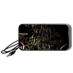 Golden Bows And Arrows On Black Portable Speaker (black) by Simbadda