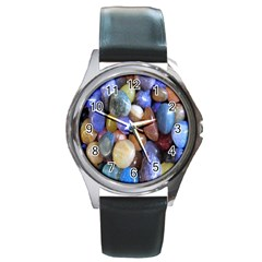 Rock Tumbler Used To Polish A Collection Of Small Colorful Pebbles Round Metal Watch by Simbadda