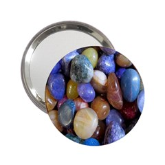 Rock Tumbler Used To Polish A Collection Of Small Colorful Pebbles 2 25  Handbag Mirrors by Simbadda