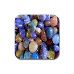 Rock Tumbler Used To Polish A Collection Of Small Colorful Pebbles Rubber Square Coaster (4 Pack)  by Simbadda