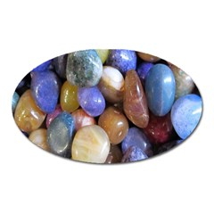 Rock Tumbler Used To Polish A Collection Of Small Colorful Pebbles Oval Magnet by Simbadda