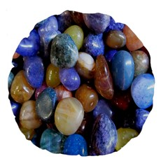 Rock Tumbler Used To Polish A Collection Of Small Colorful Pebbles Large 18  Premium Flano Round Cushions by Simbadda