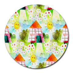 Summer House And Garden A Completely Seamless Tile Able Background Round Mousepads by Simbadda